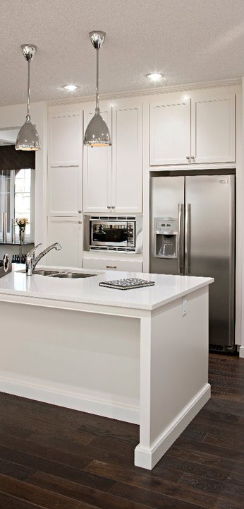 White Kitchen Cabinets with Stainless Steel Appliances , Modern