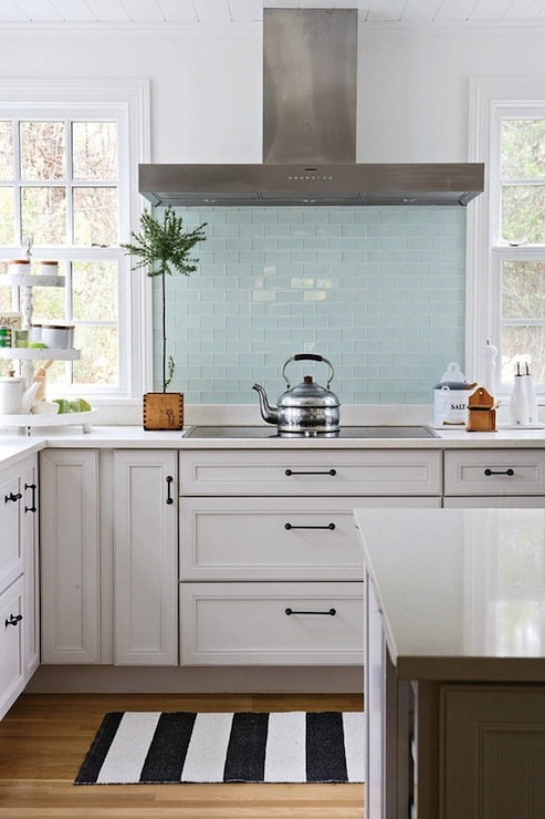 Blue glass tile backsplash cottage kitchen bhg Kitchen backsplash ideas bhg