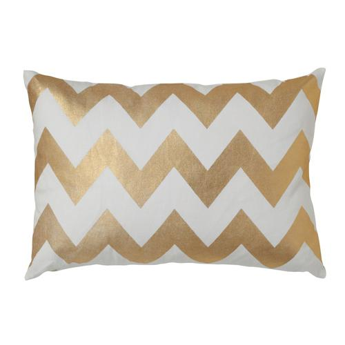 Pillows - Caitlin Wilson Textiles: Gold Chevron Pillow - gold, foil, pillow, chevron, white, cotton,