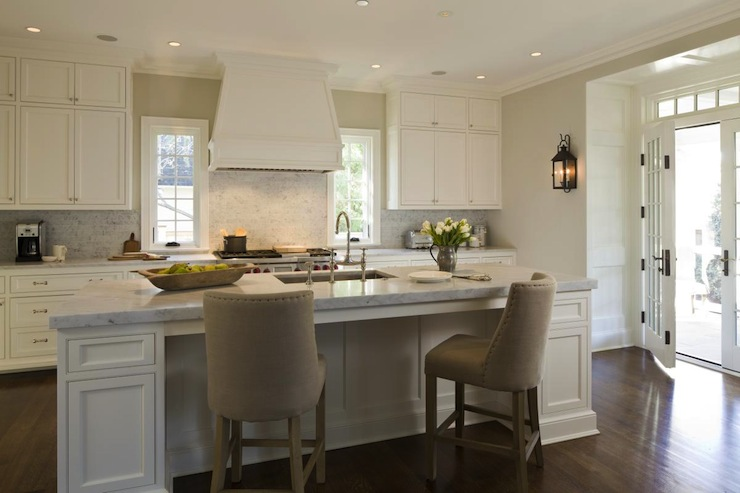 French Upholstered Counter Stools Transitional Kitchen