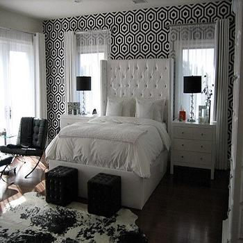 Black and White Bedroom, Contemporary, bedroom, Walnut Wallpaper