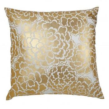 Pillows - Caitlin Wilson Textiles: Gold Fleur Pillow - gold, foil, metallic, floral, pillow, cotton,
