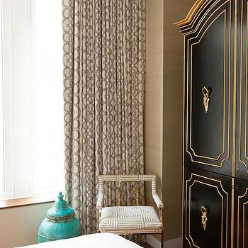 Carlyle Designs - bedrooms - French bedroom, grasscloth wallpaper, sand grasscloth, French armoire, black armoire, gold trim, gold chair, fretwork fabric, fretwork chair, turquoise blue canister, gray drapes, gray curtains, gray window panels, black and gold armoire, black and gold french armoire,
