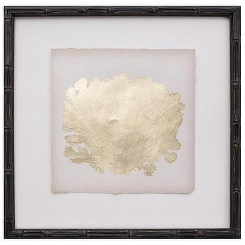 Art/Wall Decor - Gold Leaf Coral III - Zinc Door - ebony, framed, gold, leaf, coral, art, bamboo,