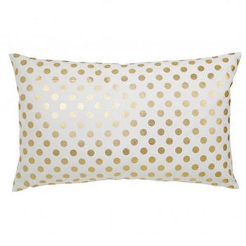 Pillows - Caitlin Wilson Textiles: Gold Polka Dot Pillow - gold, foil, polka, dot, pillow, cotton,