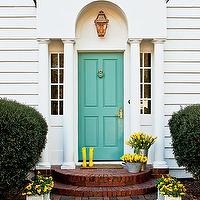 Southern Living - home exteriors - greek columns, blue door, blue front door, robin eggs blue door, robin eggs blue,  Splendid home exterior