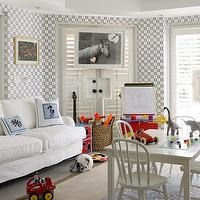 Hillary Littlejohn Scurtis - boy's rooms - playroom, play room, geometric wallpaper, blue wallpaper, white sofa, white slipcover sofa, bound sisal rug, blue pillows, play table, play chairs, seagrass basket,