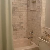 Small and Chic Home - bathrooms - Benjamin Moore - Quiet Moments - sage green bathrooms, green bathrooms, white carrara marble, white carrara marble subway tiles, white carrara marble shower, shower surround, green shower curtain, mirrored shower accessories, mirrored tray, green paint color, green bathroom paint color, green walls, green paint color,