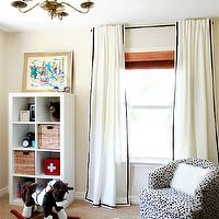 Design Crisis - nurseries - Benjamin Moore - Frappe - Milo Baughman, chair, tan nursery, tan nurseries, matchstick shades, seagrass rug, rocking horse, brass chandelier, nursery chandelier, black ribbon trim, ikea curtains, ikea drapes, ikea window treatments, ikea panels,