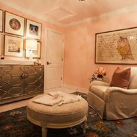 Alice Lane Home - nurseries: pink nursery, pink nurseries, mirrored cabinet, gray glider, gray nursery glider, French ottoman, round ottoman, gray ottoman, gray rug, gray floral rug, nursery art, nursery chandelier, girl nursery, girls nursery, baby girl nursery, baby girls nursery, pink nursery, pink nursery design,