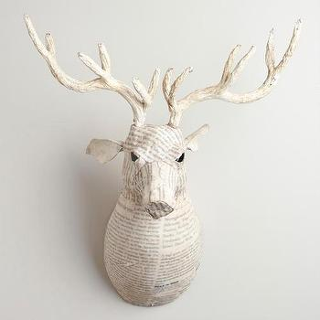 Miscellaneous - White Canvas Reindeer Bust | World Market - paper-mache, canvas. reindeer, bust. white.