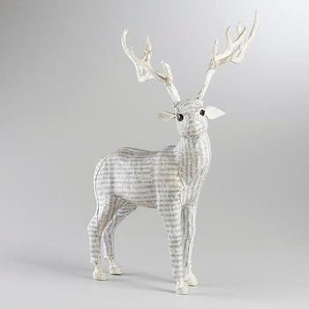 Miscellaneous - White Canvas Standing Reindeer | World Market - paper-mache, canvas, white, reindeer,