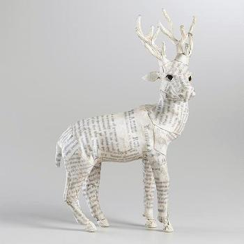 Miscellaneous - White Canvas Reindeer | World Market - white, canvas, reindeer, paper-mache,