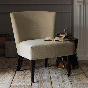 Seating - Veronica Chair - Tapered Leg | west elm - upholstered chair, curved chair, accent chair, tan chair,