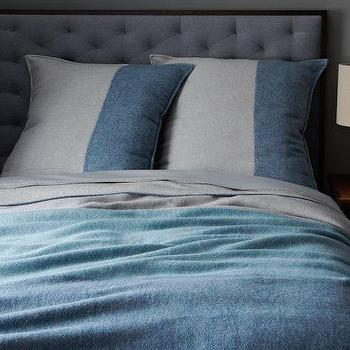 Bedding - Color Block Blanket + Shams | west elm - blue blanket, striped blanket, blue striped blanket,