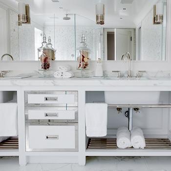 Vicente Burin Architects - bathrooms - spa-like bathroom, custom vanity, double vanity, built-in mirror, inset sconces, gooseneck faucet, marble countertops, mirror front drawers, nickel towel rack, towel shelf, marble floor, marble tiled floor, glam, wall length mirror, white double bathroom vanity, modern vanity, bathroom sconces, marble floor, mirrored cabinet doors, glass canisters, mirrored vanity, double vanity, white double vanity, white mirrored vanity, white mirrored double vanity,