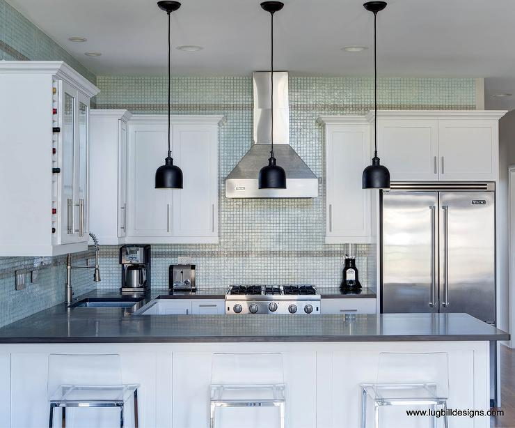 recycled glass mosaic tiles contemporary kitchen