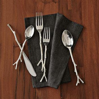 Decor/Accessories - Twig Flatware 5-pc. Set - Silver | west elm - twig cutlery, twig flatware, branch cutlery, branch flatware,