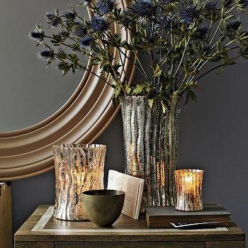 Decor/Accessories - Mercury Glass Logs | west elm - mercury glass logs, mercury glass candleholders,