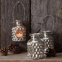 Decor/Accessories - Bottle Lantern | west elm - bottle lantern, mercury glass lantern, mercury glass candleholder, antiqued mercury glass lantern,