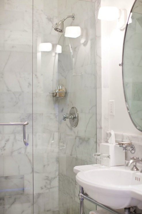 Calcutta Marble Shower Tiles Transitional Bathroom