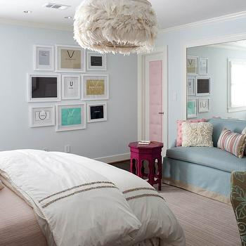 Kristin Peake Interiors - girl's rooms: teen bedroom, teen girl's bedroom, feather chandelier, designer bags, framed designer bags, art gallery, pink door, pink tufted door, fuchsia accent table, fuchsia Moroccan table, Moroccan table, blue sofa, slipcover sofa, blue slipcover sofa, white floor lamp, pink and gray, pink bedding, girl art gallery, blue girls rooms, girls blue bedrooms, pink and blue teen bedroom, pink and blue teen room, pink and blue girls room, pink and blue girls bedroom, pink tufted, inset panel door, gray ribbon trim,