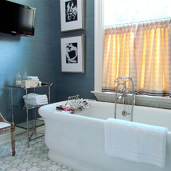 Blue Grasscloth Wallpaper, Eclectic, bathroom, Gardiner and Larson Homes