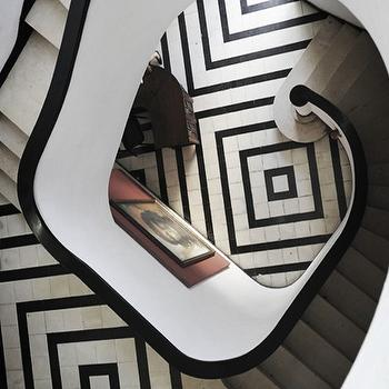 entrances/foyers - geometric floor, geometric tiles, winding staircase, black and white,  Gorgeous black and white winding staircase with incredible