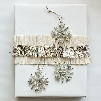 Tinsel Snowflake Ornament Set, Silver, west elm