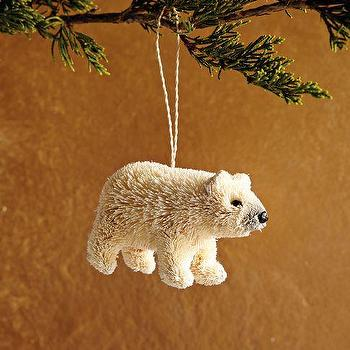 Miscellaneous - Bottle Brush Ornament - Polar Bear | west elm - bottle brush ornament, polar bear ornament, bear ornament,