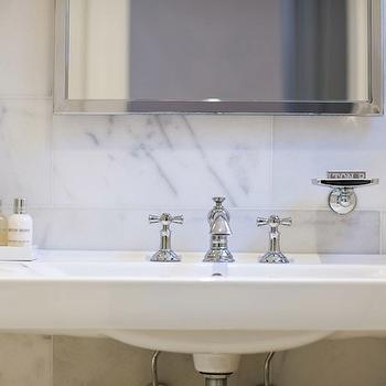 Washington School House Hotel - bathrooms: vintage glass shelf, glass shelf, white porcelain sink, marble tiles, marble tile backsplash, vintage faucet, polished nickel,