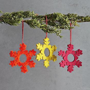 Multicolor Felt Snowflake Ornaments, west elm