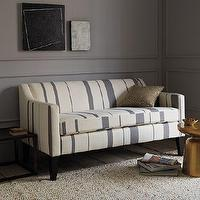 Seating - Sutton Striped Sofette | west elm - striped settee, striped sofette, small striped sofa, gray and cream striped sofa, studio sofa,