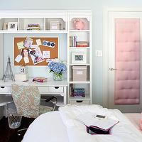Kristin Peake Interiors - girl's rooms - Benjamin Moore - In Your Eyes - pink tufted, inset panel door, blue walls, blue paint, white desk, white desk shelves, turquoise blue and gray, office chair, pink piggy bank, cork board, bulletin board, cork bulletin board, gum ball lamp, pink gum ball lamp, pink pillow, pink dots pillows, dots pillow, teen girls paint colors, pink and blue teen bedroom, pink and blue teen room, pink and blue girls room, pink and blue girls bedroom,