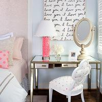 Kristin Peake Interiors - girl's rooms: i love you art, i love you canvas art, metallic sheen, framed headboard, gum ball lamps pink ball gum lamp, hot pink gum ball lamp, mirrored vanity, quatrefoil chair, white quatrefoil chair, blue teen girls bedroom, tall headboard, blue walls, blue paint, pink dots pillows, dots pillow, blue girl's bedrooms, blue girl's rooms, blue teen's bedroom, blue teen's bedroom, mirrored desk, pink and blue teen bedroom, pink and blue teen room, pink and blue girls room, pink and blue girls bedroom, polka dot fabric,