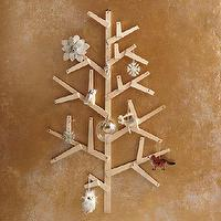 Miscellaneous - Wooden Wall Tree | west elm - rustic wall tree, wooden wall tree, tree ornament holder, Christmas tree wall decor,