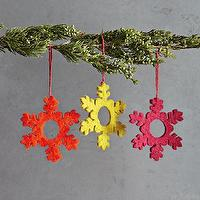 Miscellaneous - Multicolor Felt Snowflake Ornaments | west elm - felt snowflakes, felt ornaments, felt snowflake ornaments,