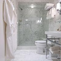 Washington School House Hotel - bathrooms: modern washstand, white porcelain sink, vintage glass shelf, glass shelf, towel rack, seamless glass shower, calcutta marble, calcutta marble shower, calcutta marble tiles backsplash, calcutta marble floor, bathroom sconces, spa like bathroom, calcutta marble floor, polished nickel,