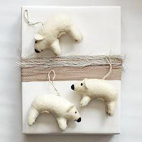 Miscellaneous - Felt Polar Bear Ornament | west elm - felt polar bear, felt polar bear ornament, felt bear ornament, white bear ornament,