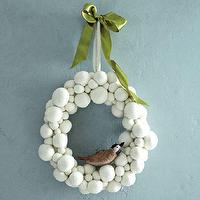 Miscellaneous - Felt Ball Wreath - White | west elm - felt ball wreath, snowball wreath, white ball wreath,