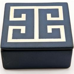 Decor/Accessories - Waylande Gregory Blue and Gold Greek Key Box - ceramic, greek key, box, decorative