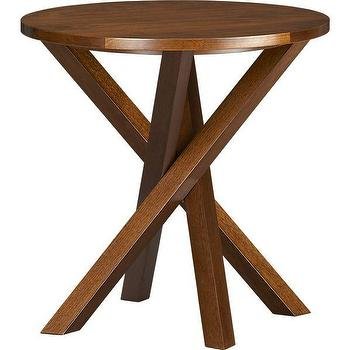 Tables - Twist Table | Crate and Barrel - side table, criss-cross side table, walnut side table, contemporary side table, modern side table, round side table,