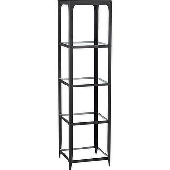 Storage Furniture - Arc Etagere | Crate and Barrel - slim-line etagere, black etagere, metal etagere, black steel etagere, glass shelved etagere, industrial etagere,