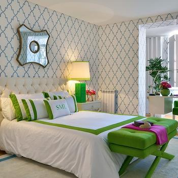Quatrefoil Wallpaper, Hollywood Regency, bedroom, Ana Cordeiro
