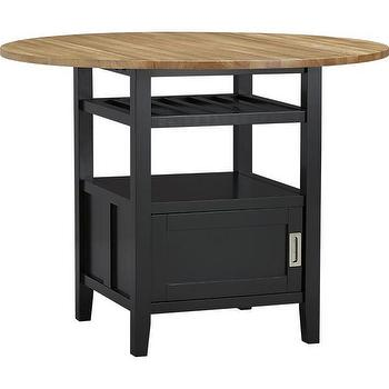 Tables - Belmont Black High Dining Table | Crate and Barrel - bar height dining table, circular bar height dining table, dining table with wine shelf, dining table with storage cabinet, black lacquered dining table with wood top,