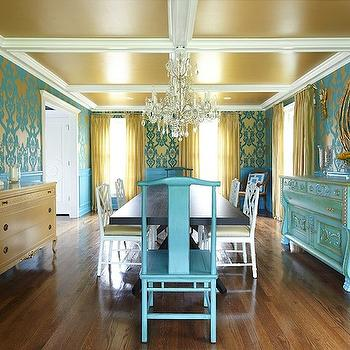 Turquoise Dining Room, Eclectic, dining room, Plum Interiors by Kartra Designs