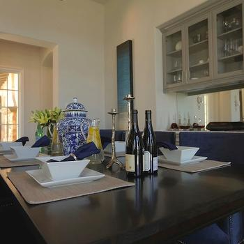 Mirrored Backsplash, Contemporary, dining room, Jeff Lewis Design