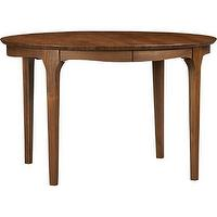 Tables - Calista Extension Dining Table | Crate and Barrel - Danish Modern dining table, circular Danish dining table, round Danish Modern dining table, round teak dining table, circular teak dining table,