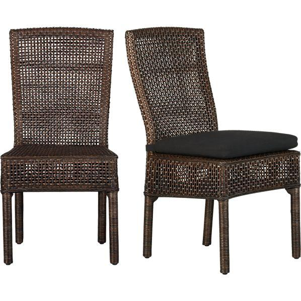 Cabria honey brown woven side chair crate and barrel - Crate and barrel parsons chair ...