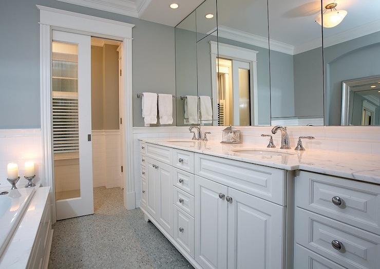 Pocket Door Bathroom Design : Blue master bathroom transitional carr